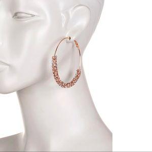 Free Press Glass Crystal Dust Large Hoop Earrings